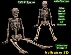 3D asset realtime Dead Skeleton - 3 - PBR - Textured