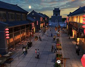 Animated Sunset Street 3D model
