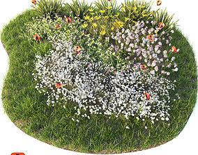 Flower bed 3D model grass