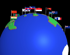 3D Spinning Globe with Flags