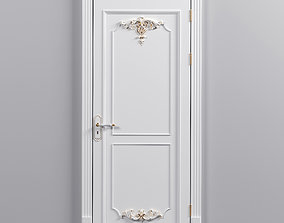 Classical door with carved decor 3D