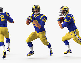 3D American Football Player Los Angeles Rams Running Pose