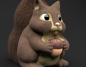 3D Toy Squirrel with Acorn