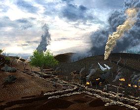 Anti-japanese World War II ruins scene trench warfare 3D