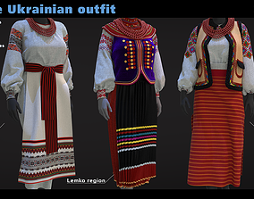3D model Female Ukrainian outfit 3 different outfits