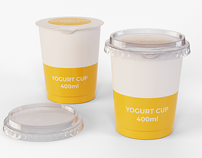 Yogurt Cup 400ml Cap 3D model