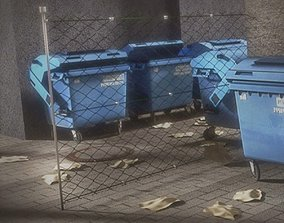 Garbage container with ragdoll setup 3D asset rigged