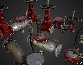 Low Poly Game Backflow Water Pipe Constructor 3D asset