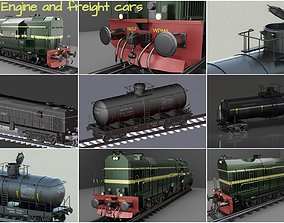 3D Railway Engine and Freight car pack
