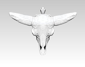 Bison skull pendant necklace jewelry 3D printable model 1