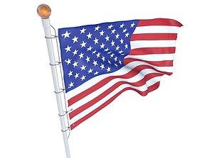 3D model Flag USA animated