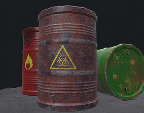 3D asset Metal Barrels
