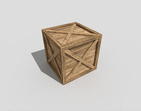 low poly wooden crate 3D asset low-poly
