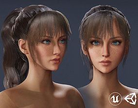 Game-Ready Long Ponytail Female Hairstyle - 3D model
