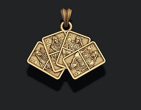 Pair of Queens playing cards pendant 3D print model