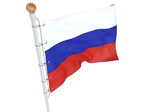 Russian flag animated 3D