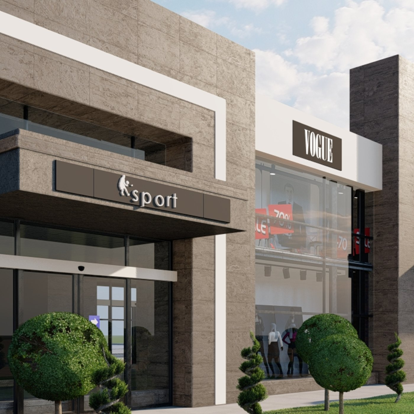 The 2-storey shopping mall includes