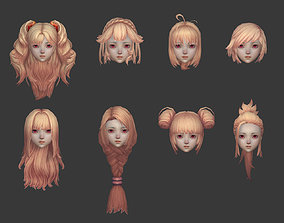 hair hair style girl short hair long hair dye 3D model