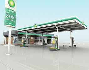3D asset BP Gas Station with Shop and CarWash RenderReady