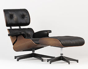 3D model Eames Style Lounge Chair and Ottoman