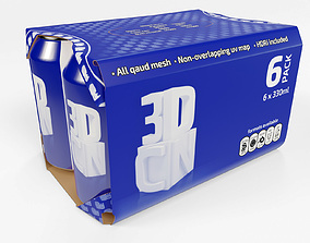 3D model 6 pack 330ml beverage cans in a cardboard sleeve