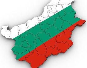 3d Political Map of Bulgaria