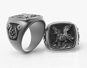 3D print model creature Ring Pegasus Horse