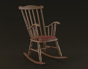 3D asset VR / AR ready Rocking Chair wooden