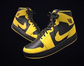Sneaker Nike Air Jordan Yellow Black 3D asset