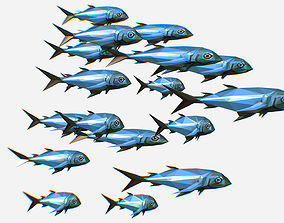 3D model Animated Low Poly Art Flock Green Sea Fish