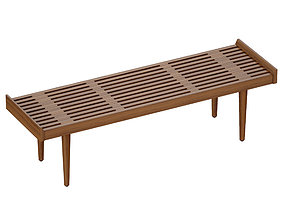 Tate Walnut Slatted Bench Crate and Barrel 3D
