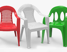 3D model Plastic Chairs - 3 Types