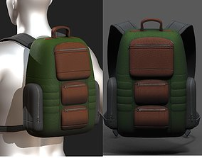 low-poly Backpack bag baggage Color 3d low poly 1