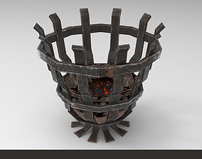 3D model Metallic ancient brazier light