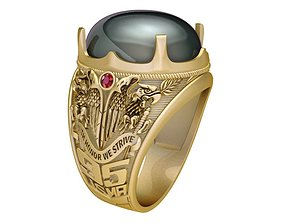 1920 Eagle Ring with Oval ruby 3D print model