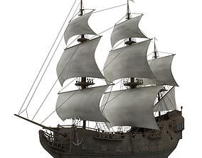 3D model low-poly Sailboat Galleon