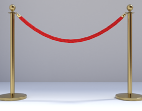 Red carpet guardrail 3D model