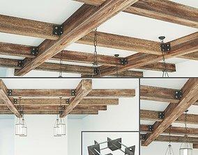 Suspended ceiling system wooden 3D asset