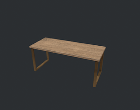 3D model Beech Wood Modern Table