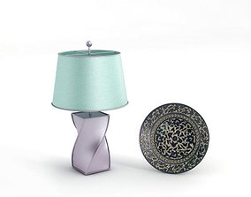 Contemporary Lamp And Embellished Plate 3D model