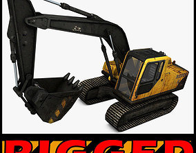machine 3D Excavator Rigged