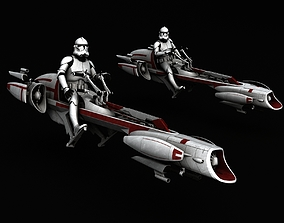 3D model Star Wars BARC Speeder clone