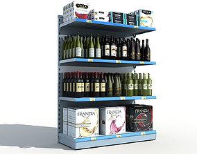 Supermarket Shelves Wine 3D
