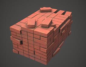 Pile of Bricks PBR Low Poly 3D asset