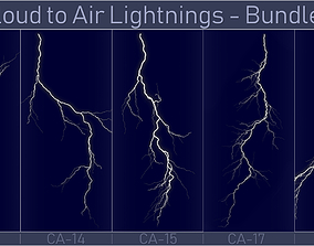 3D model Realistic Lightnings Bundle 04 - 5 pack CA