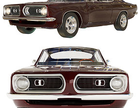 3D 1968 Plymouth Barracuda Maroon muscle-car