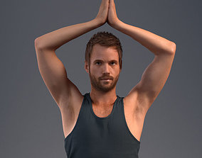 Pre posed male 3D model in a sport attire doing yoga