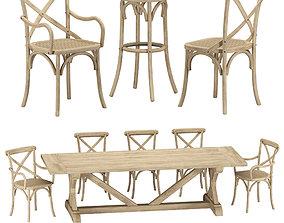 RH Klismos dining set 3D model | CGTrader