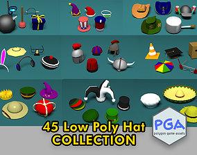 45 Low poly hats 3D model