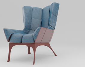 Modern Blue Chair Leather 3D model